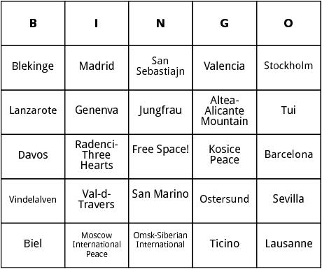 european marathons 6 bingo
