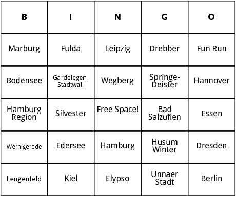 european marathons 7 bingo