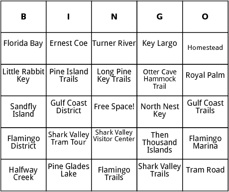 everglades national park bingo