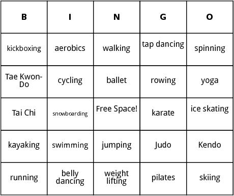 excecise bingo