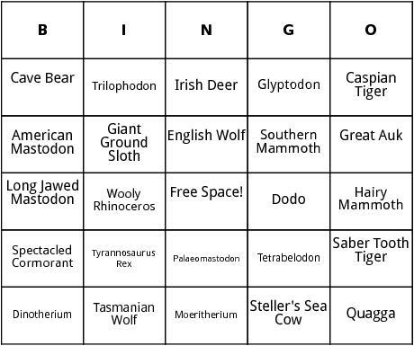 extinct animals bingo