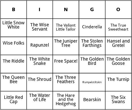 fairy tales bingo