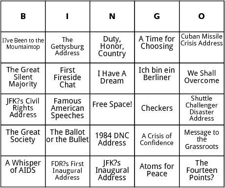 famous american speeches bingo