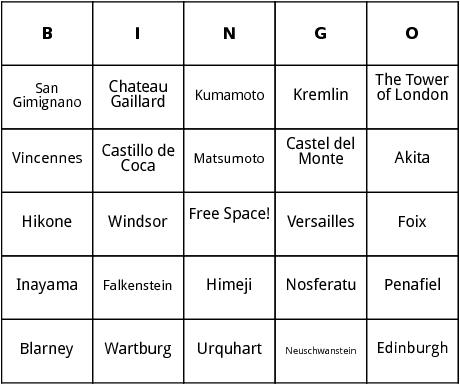 famous castles bingo
