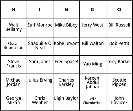 famous nba players bingo