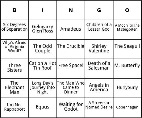 famous plays bingo
