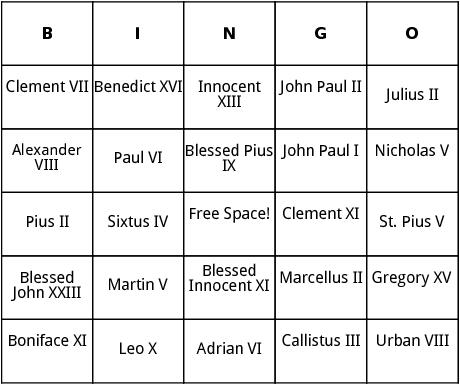 famous popes bingo