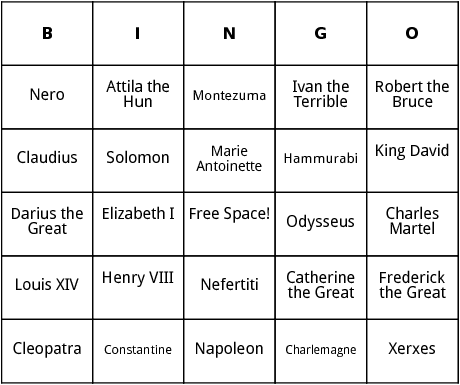 famous rulers bingo