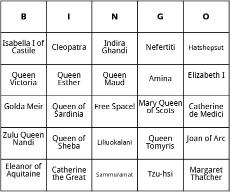 famous women rulers bingo
