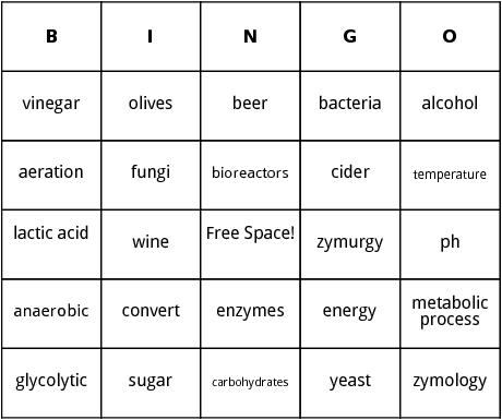 fermentation bingo