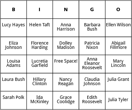 first ladies bingo card