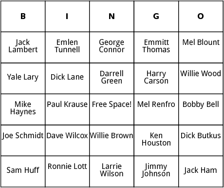 photo regarding Free Printable Football Bingo Cards named Soccer Corridor of Fame 2 bingo by means of Bingo Card Template