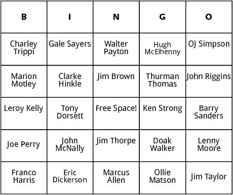 football hall of fame bingo