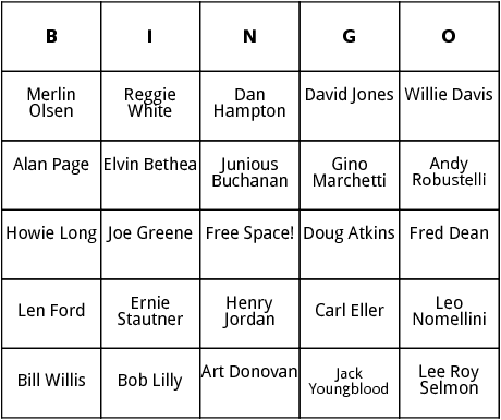 football hall of fame defense bingo