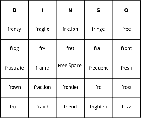 fr blends bingo