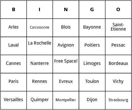 french cities bingo