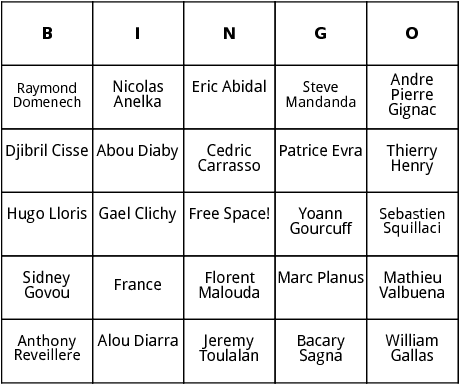french world cup players bingo