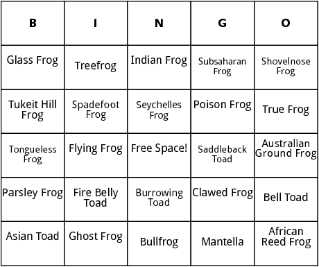 frogs and toads bingo