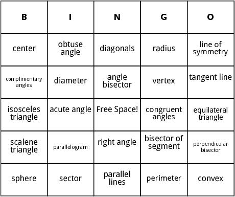 Geometry bingo by bingo card template geometry bingo pronofoot35fo Image collections