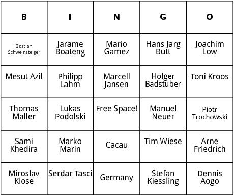 german world cup players bingo
