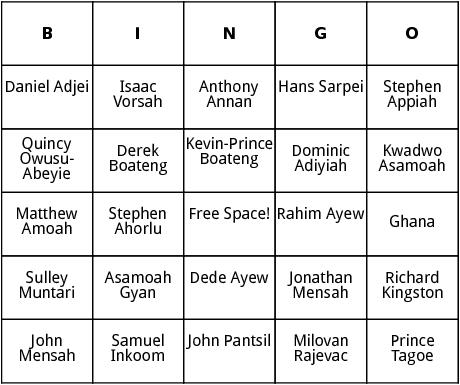 ghana world cup players bingo