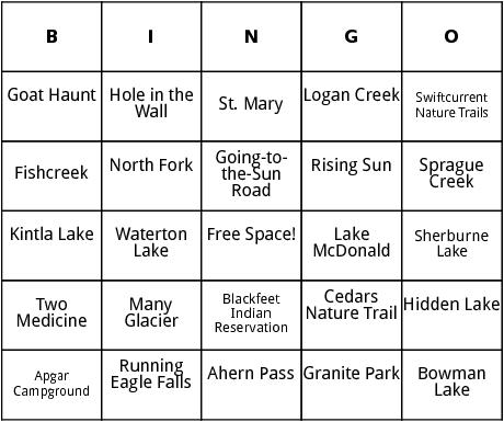 glacier national park bingo