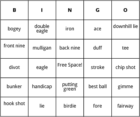 golf terms bingo