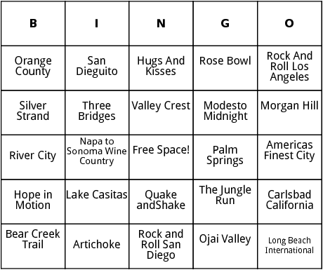 half marathon races in california 2 bingo