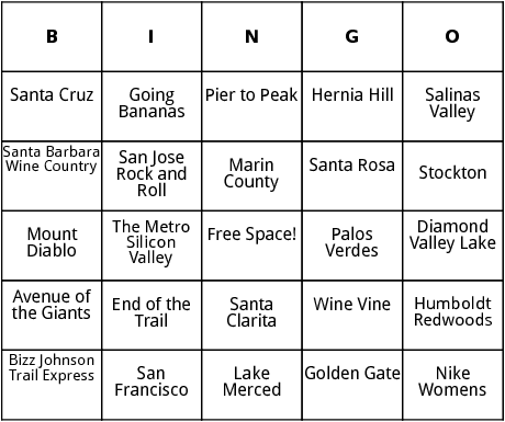 half marathon races in california 3 bingo