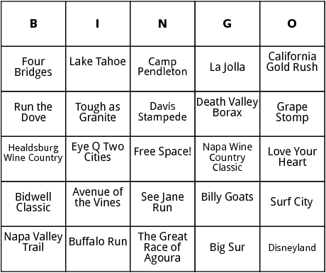 half marathon races in california bingo