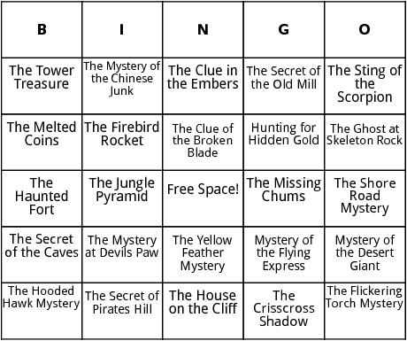 hardy boys book titles bingo