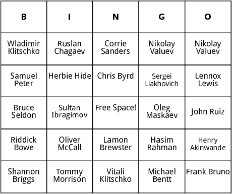 heavyweight champs 3 bingo