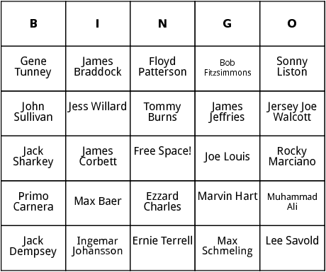 heavyweight champs bingo