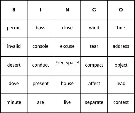 heteronyms bingo