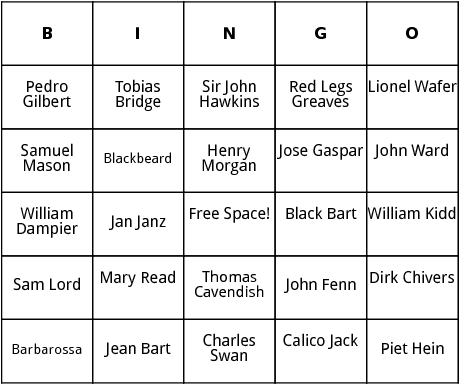 historical pirates bingo