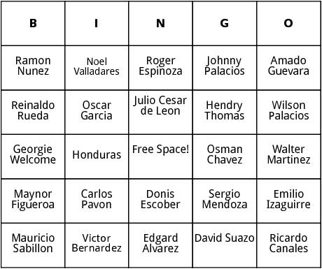 honduran world cup players bingo