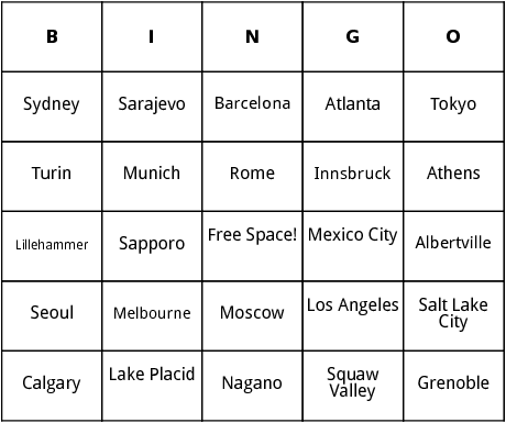 host cities of the olymbics bingo