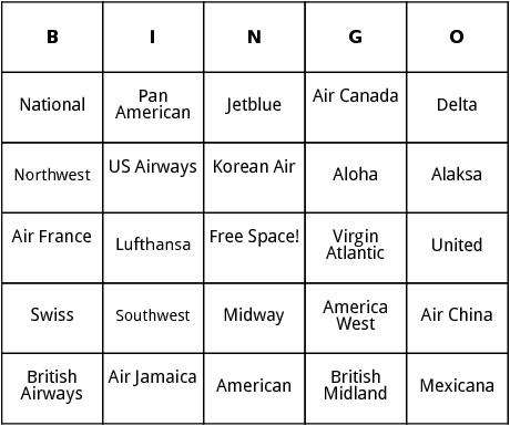 international  airlines bingo