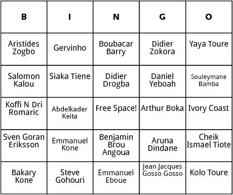 ivory coast world cup players bingo