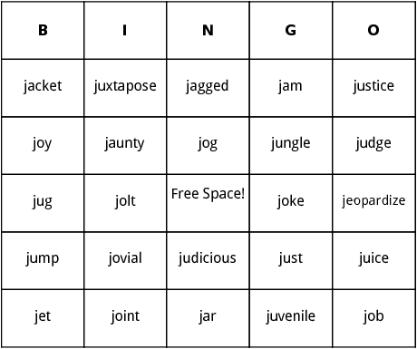 J words bingo by bingo card template this bingo card is about j words words on this j words bingo card include juxtapose job jump and jaunty you can edit the j words bingo card pronofoot35fo Images