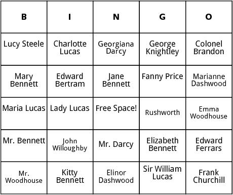 jane austen characters bingo
