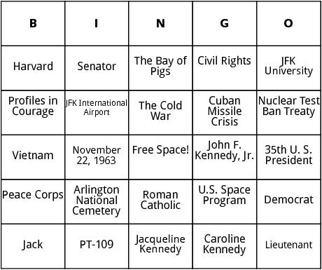 john f. kennedy bingo