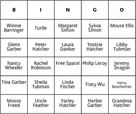 judy blume characters bingo