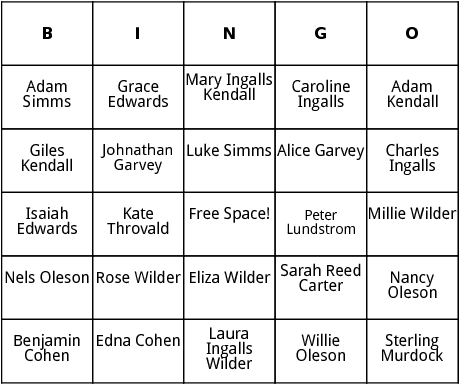 little house on the praire characters bingo