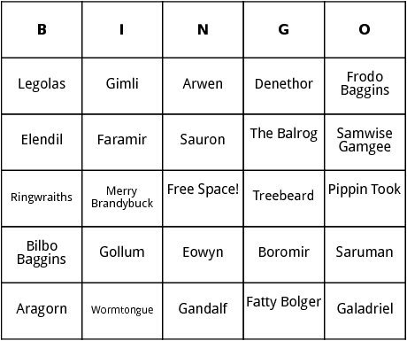 lord of the rings characters bingo