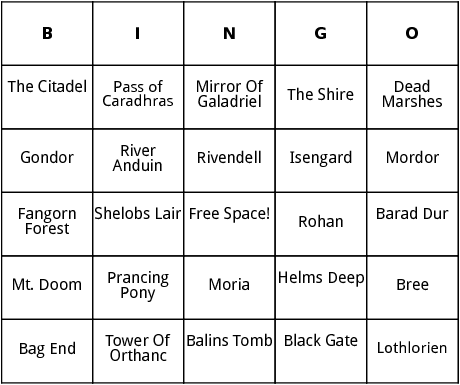 lord of the rings locations  bingo
