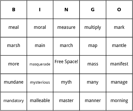 m words bingo
