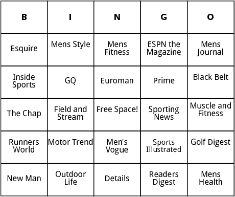 magazines for men  bingo