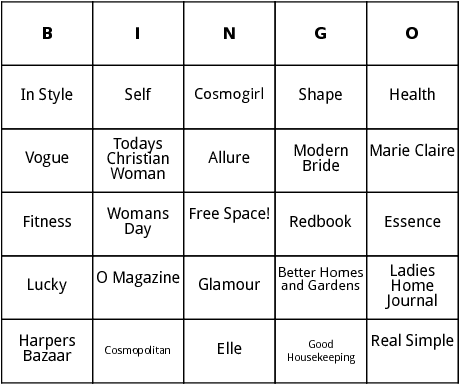 magazines for women bingo