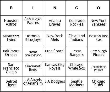 major league baseball teams bingo